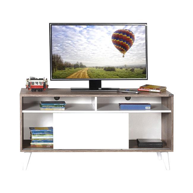 Porta tv 2 ante scorrevoli mobile basso bianco e rovere cm ...